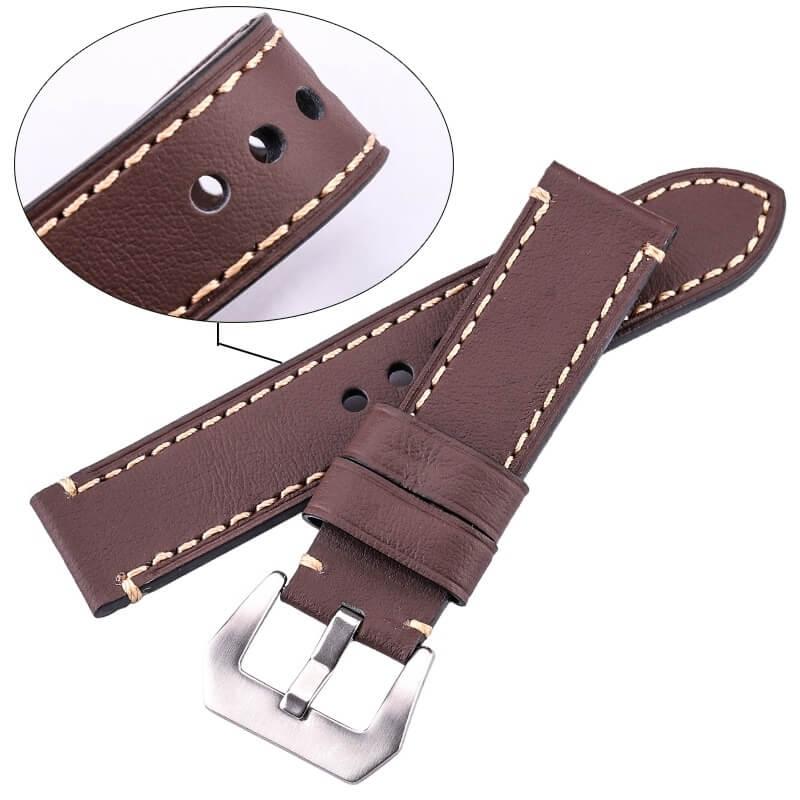 Leather Strap Genuine Ecus 20mm 22mm 24mm Brown