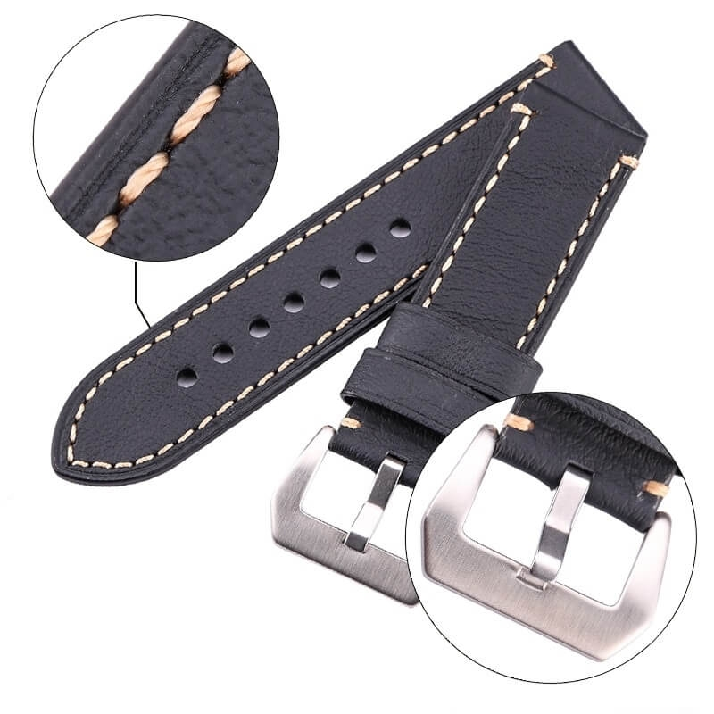 Leather Band Genuine Ecus 20mm 22mm 24mm Black