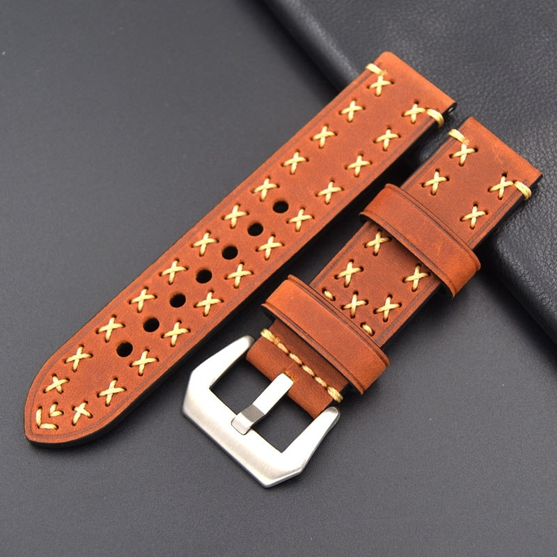 Leather Strap 100% Genuine Geyne & Beers 20mm 22mm 24mm 26mm Red.