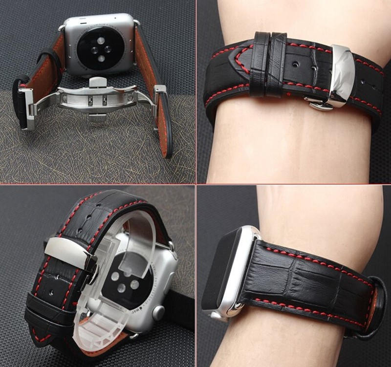 Apple Watch Leather Strap 100% Genuine Carrera 42mm Deployante Butterfly.