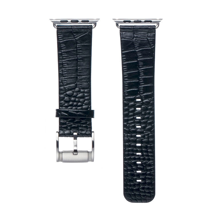 Bracelet Apple Watch Croco cuir 100% véritable 42mm Noir.