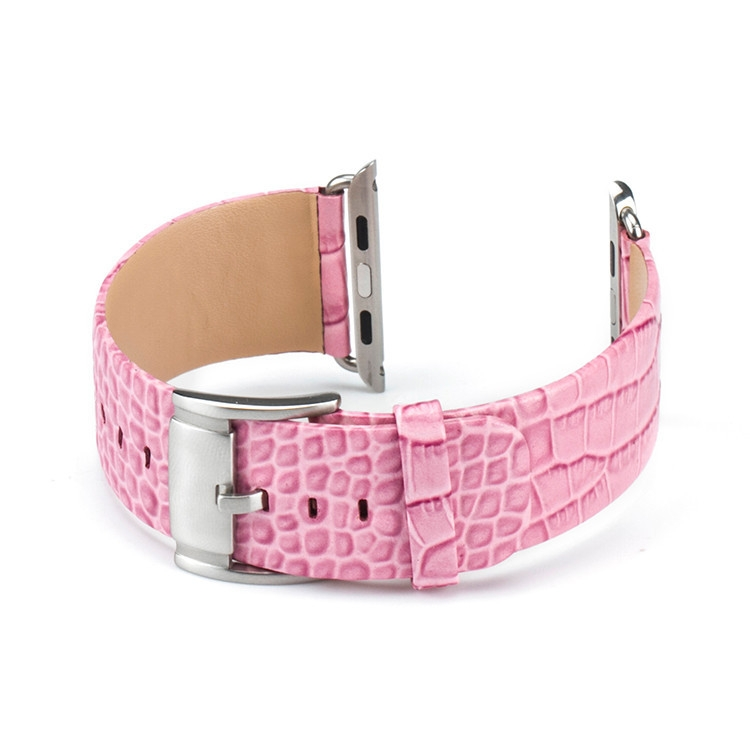 Correa Apple Watch 100% Cuero Genuino Croco 42mm Rosa.