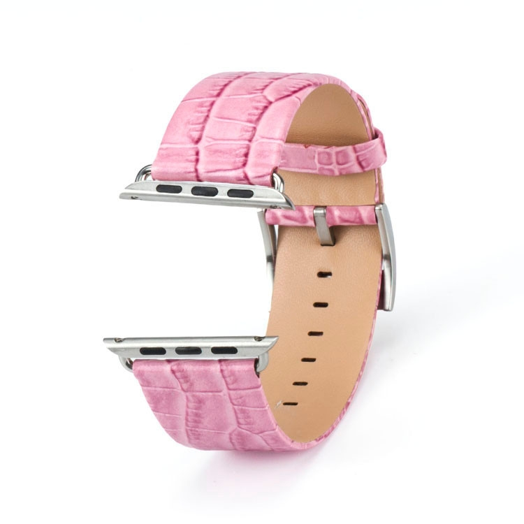 Bracelet Apple Watch cuir 100% véritable 42mm Croco Rose.