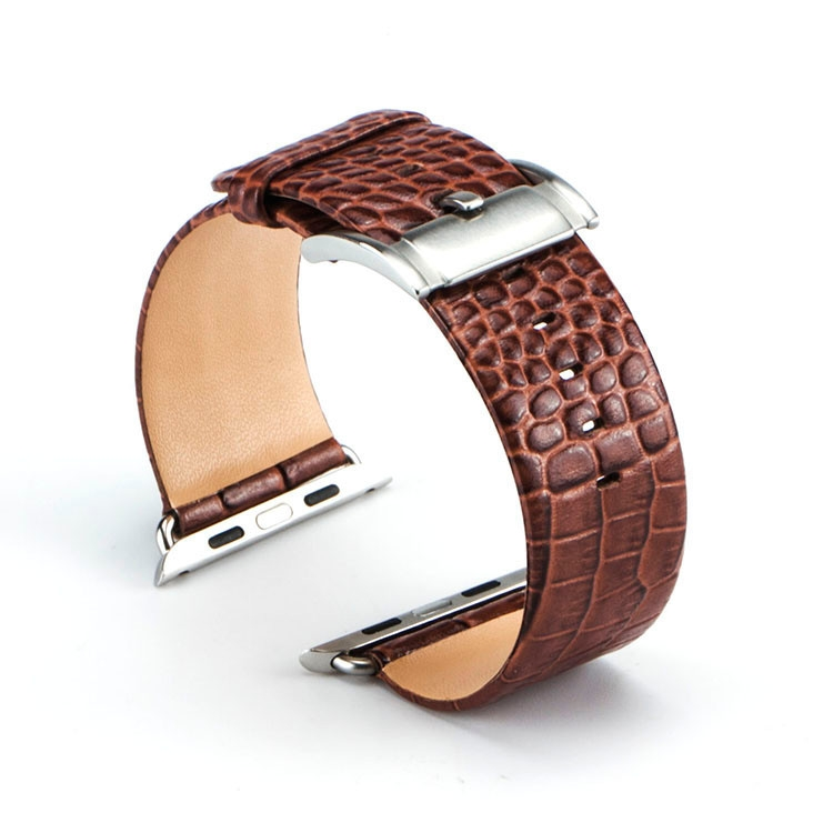 Bracelet Apple Watch Croco cuir 100% véritable 42mm marron.