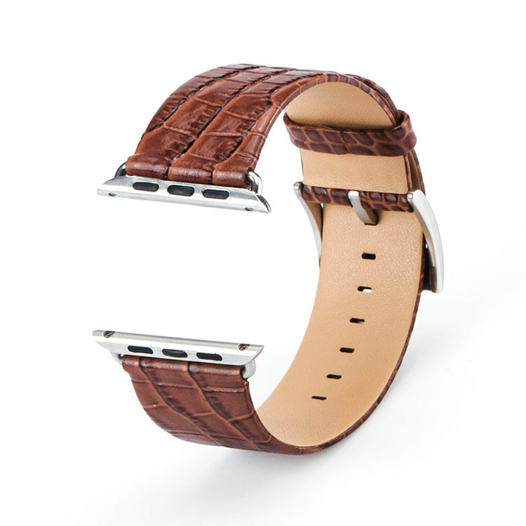 Bracelet Apple Watch Croco cuir 100% véritable 42mm marron.