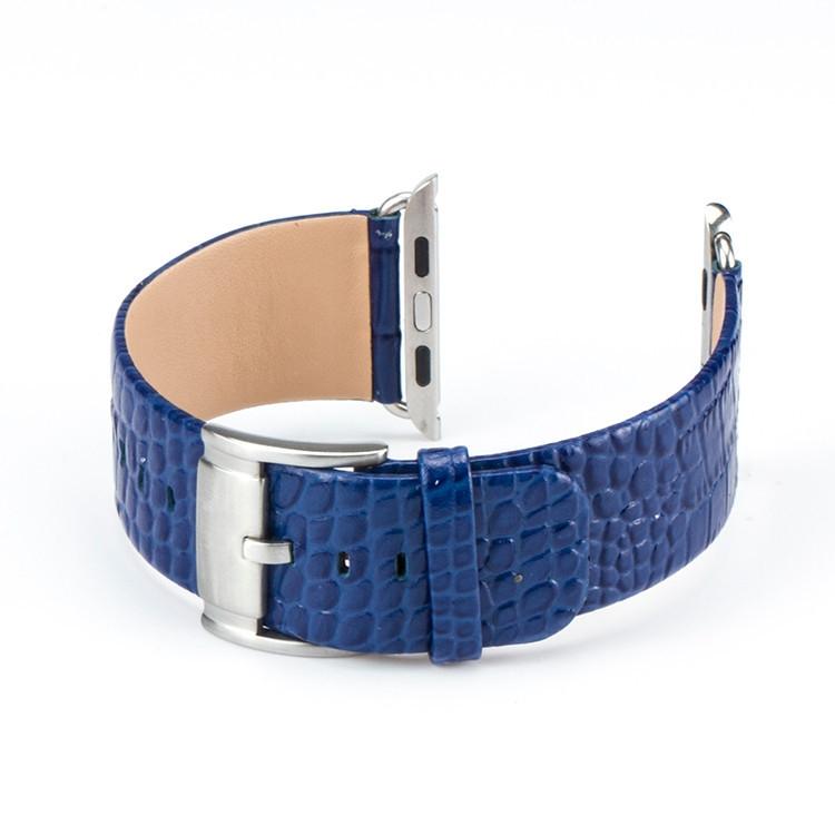 Correa Apple Watch 100% Cuero Genuino 42mm Croco azul.