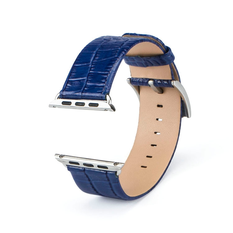 Correa Apple Watch 100% Cuero Genuino 42mm Croco azul.