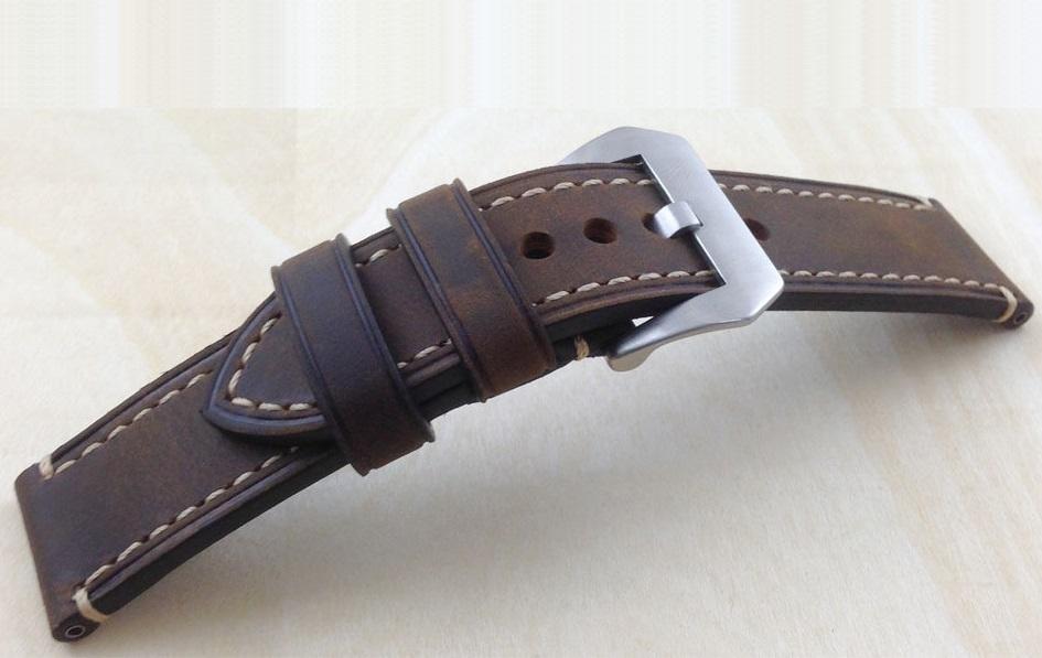 Bracelet montre 100% cuir Véritable Stany 20mm 22mm 24mm 26mm Marron Foncé.