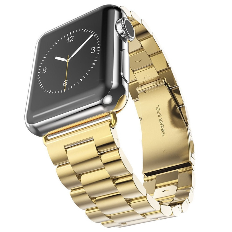 Bracelet Apple Watch Acier Inox 42mm Plaqué or.