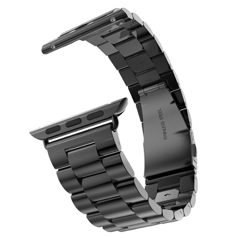 Bracelet Apple Watch Acier Inox 42mm Noir.