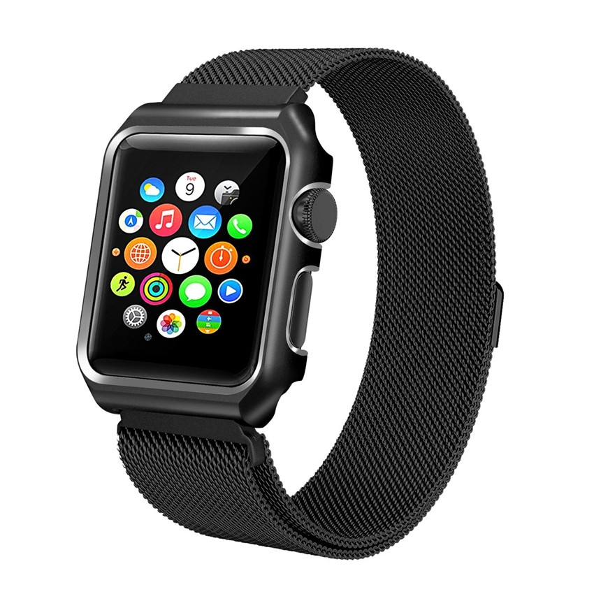 Milanesa Mesh Apple Watch 38mm Caja Protectora Negra.