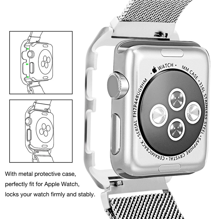 Apple Watch Mesh Stainless Steel Band 38mm with Case and Screen Protector Black.