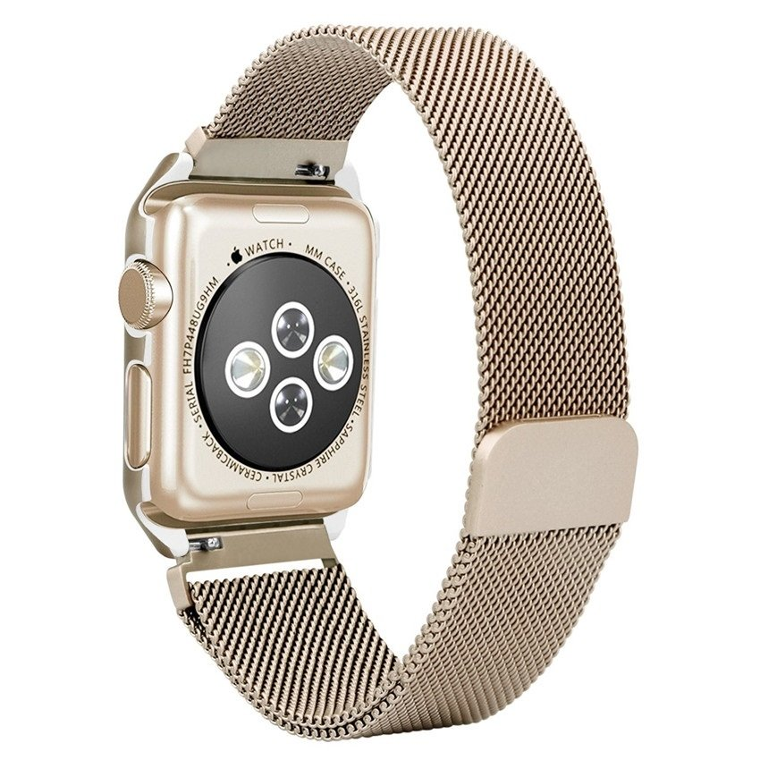 Milanesa Mesh Apple Watch 42mm Caja Protectora Dorada.
