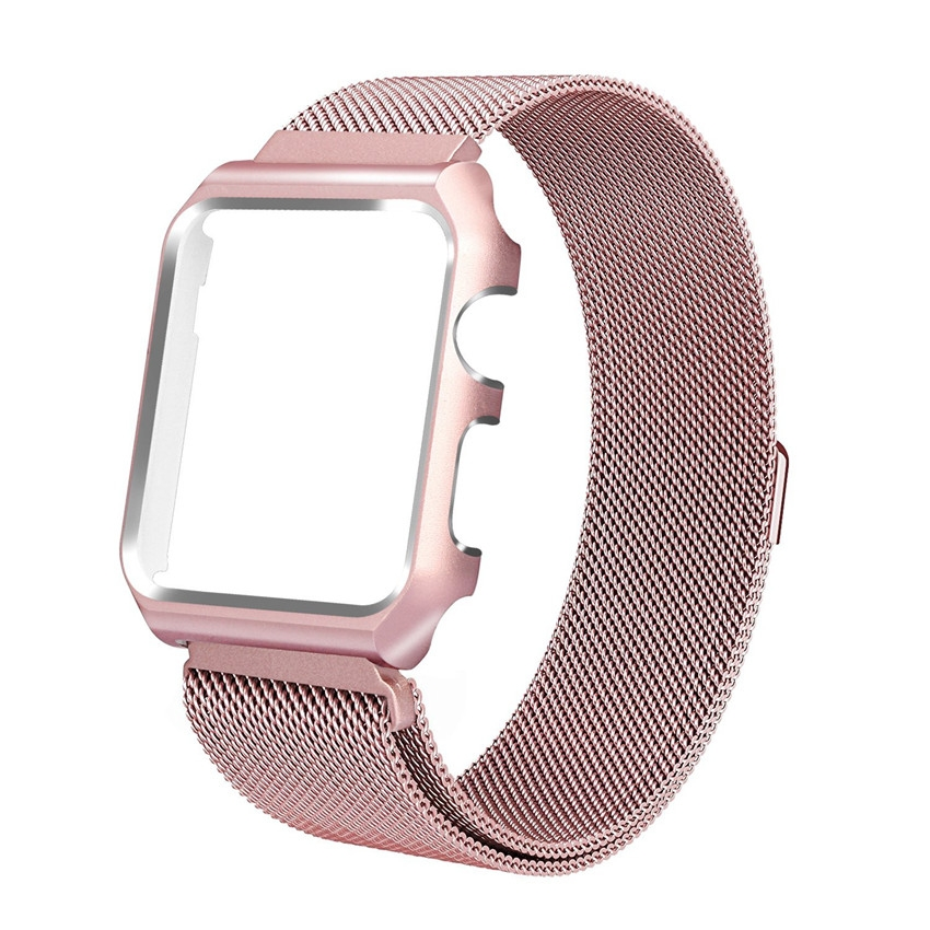 Milanesa Mesh Apple Watch 42mm Caja Protectora Rosa.