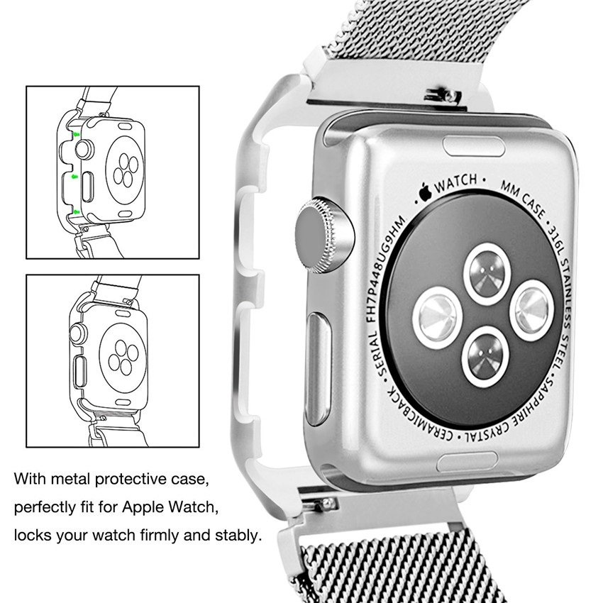 Apple Watch Mesh Stainless Steel Band 38mm with Case and Screen Protector Rose Gold Plated.