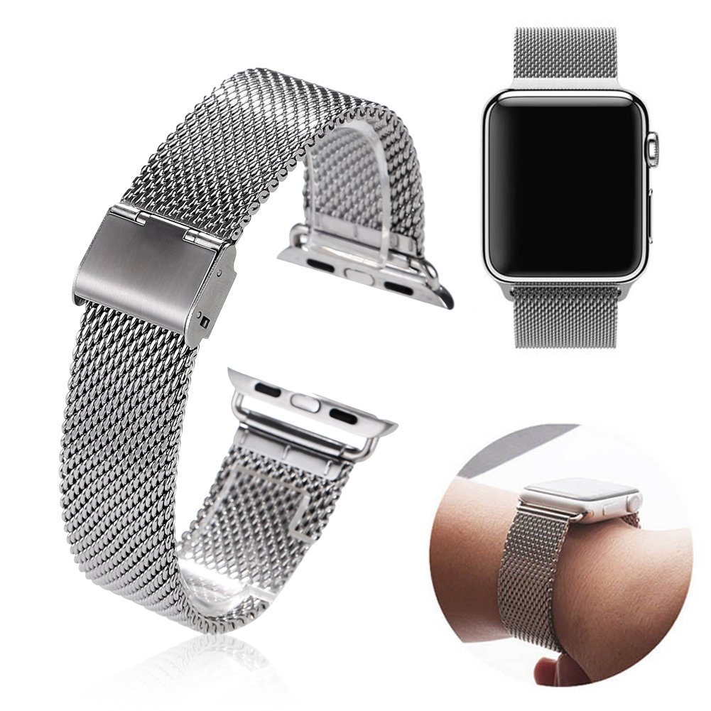 Milanesa Mesh Apple Watch 42mm Acero Inoxidable Gris.