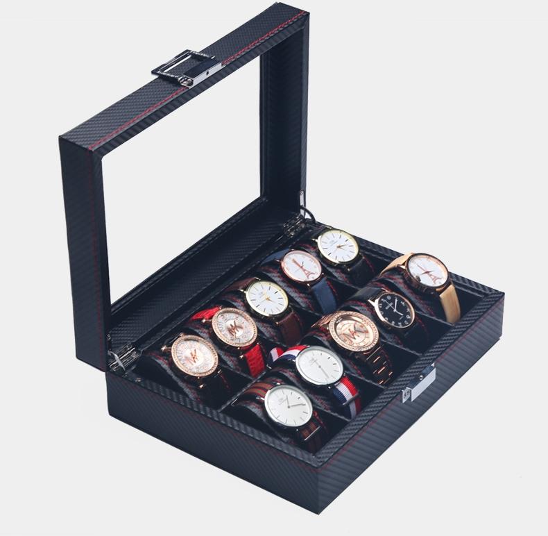 Caja 12 Relojes Fibra Carbono Zweiler.