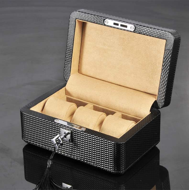 High Quality Watch Box 3 Slots Carbon Fiber Zweiler.
