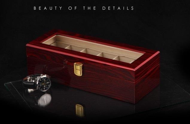 High Quality Watch Box 6 Slots Piano Wood Zweiler.