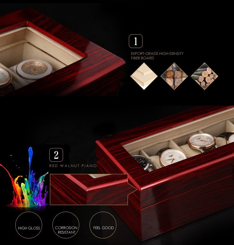 High Quality Watch Box 6 Slots Piano Wood Zweiler.