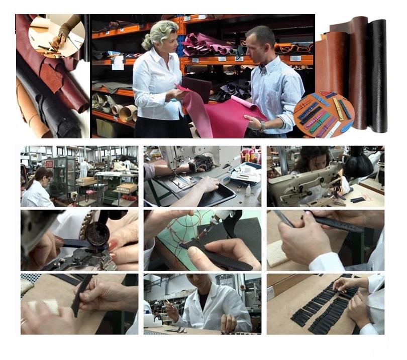 Bracelet montre Aviateur 100% cuir Véritable 22mm Noir.
