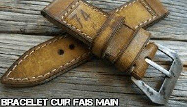 Bracelet cuir montre vintae fais main